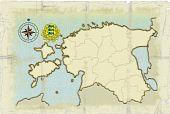 Mapa de estilo antiguo de Estonia