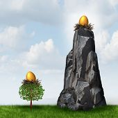 pic of retirement  - Secure investment choice as a golden nest egg in a low tree and another retirement or savings gold fund on a high hard access rock mountain as a financial and business metaphor for retirement security safeguard - JPG