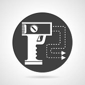 image of taser  - Flat black round vector icon with white silhouette stun gun with two electrodes on gray background - JPG