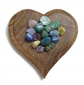 picture of precious stone  - Heart shaped wooden plaque with multicolored tumbled semi - JPG