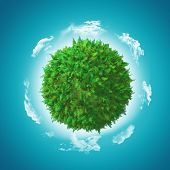 stock photo of fern  - 3D render of a globe with fern and grass with clouds - JPG