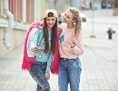 image of  friends forever  - Hipster girlfriends taking a selfie in urban city context - JPG