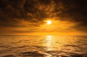 image of horizon  - Beautiful seascape evening sea sunset horizon and sky - JPG