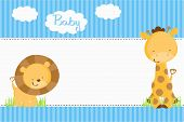 image of blue animal  - Baby Shower Invitation  - JPG