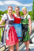 stock photo of national costume  - Friends visiting together Bavarian fair in national costume or Dirndl  - JPG