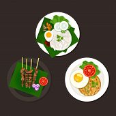 stock photo of malaysian food  - indonesian malaysian food nasi goreng lemak sate ayam - JPG