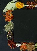image of saffron  - Different spices on a black background  - JPG