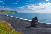 picture of volcanic  - Beautiful rock formation on a black volcanic beach at Cape Dyrholaey - JPG