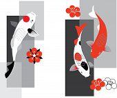 foto of koi tattoo  - Artistic vector illustration of koi carps  in three colors - JPG