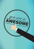 image of you are awesome  - Vector illustration of a thumb - JPG