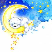 stock photo of teddy  - White Teddy bear and night stars background - JPG
