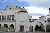 picture of synagogue  - Jewish synagogue in Trencin large building with a domed roof - JPG