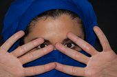 picture of burka  - portrait muslim woman with blue scarf isolated - JPG