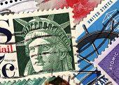 Постер, плакат: USA postage stamps