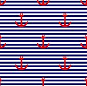 foto of navy anchor  - Tile sailor vector pattern with red anchor on navy blue and white stripes background for summer seamless decoration wallpaper - JPG
