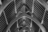 stock photo of rafters  - Abstract view of timber rafter beams of an old  building - JPG