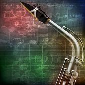 picture of saxophones  - abstract green grunge vintage sound background with saxophone - JPG