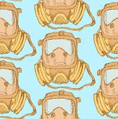 stock photo of respiratory  - Sketch respiratory mask in vintage style vector seamless pattern - JPG