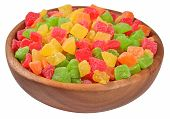 pic of fruit bowl  - Candied fruits in a wooden bowl on a white background - JPG