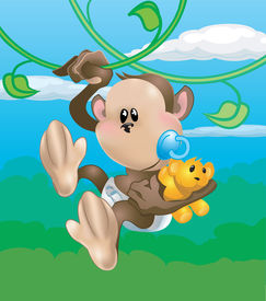 picture of baby animal  - a cute monkey swinging through the trees - JPG