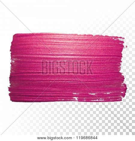Vector pink watercolor brush stroke. Abstract varnish splash trace shape. Glossy red oil paint smear
