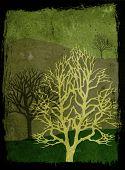 Grunge Trees Illustration - Green