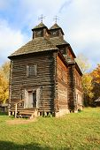 Ancient Country Church In Autumn Landscape poster