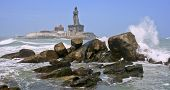 stock photo of vivekananda  - Landmark where the three oceans meet at the lands end oo india - JPG