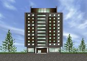 3D concept of office building exterior