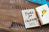 Handwritten Text Build Your Credibility poster