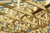 stock photo of rafters  - New residential construction home framing - JPG