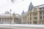 Постер, плакат: Bucharest Romania January 17: University Square On January 17 2016 In Bucharest Romania Buchar