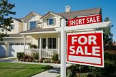 pic of yard sale  - Short Sale Home For Sale Real Estate Sign and House  - JPG