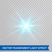 Vector star light radiance. Sparkling particle with glaring lens flare beams. Bright light flash iso poster