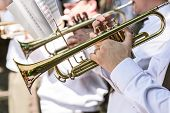 ������, ������: Military Musicians Playing Gold Trumpets On Music Festival