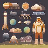 Flat vector elements. Space exploration. poster