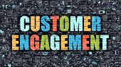 Customer Engagement Concept. Multicolor on Dark Brickwall. poster
