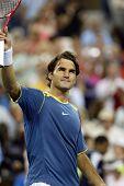 FLUSHING, NY - SEPTEMBER 4: Roger Federer of Switzerland gestures to the crowd after defeating Olivi