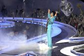 MIAMI - FEB 4: Prince gestures as he performs during half-time for Super Bowl XLI between the Chicag
