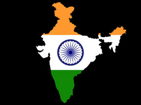 stock photo of indian flag  - map of india and indian flag illustration - JPG