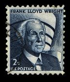 UNITED STATES - CIRCA 1966: stamp printed by USA, shows Frank Lloyd Wright was an American architect, circa 1966