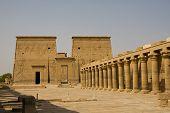 stock photo of aswan dam  - A yard of Philae Temple in Aswan - JPG