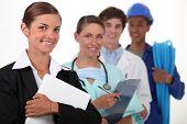 a secretary, a nurse, a doctor and a workman
