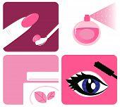 Beleza, cosméticos e maquiagem ícones isolados no branco.
