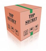 top secret package closed cardboard box with important classified information secrecy