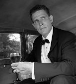 Black & White-Man In Limo 2