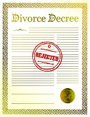 rejected Divorce Decree papers. illustration design