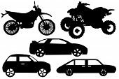 Collage with different automobiles