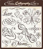 Vector set with exquisite calligraphic and ornamental designs. Great for wedding invitations and layout embellishment.