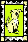 picture of spotted dog  - Woodcut image of a dog with african inspired border - JPG
